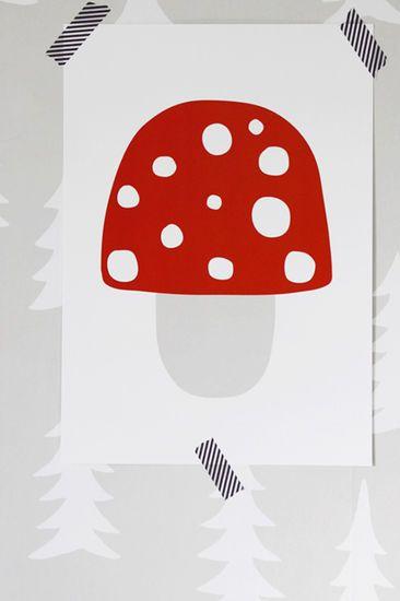 Pilkkuraita - Sieni-printti | pikkuOtus -Lastenvaatteet