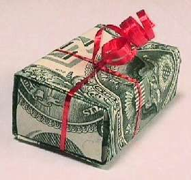 How to make a gift box out of dollar bills.
