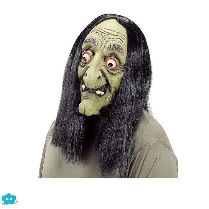 Máscara de bruja con pelo