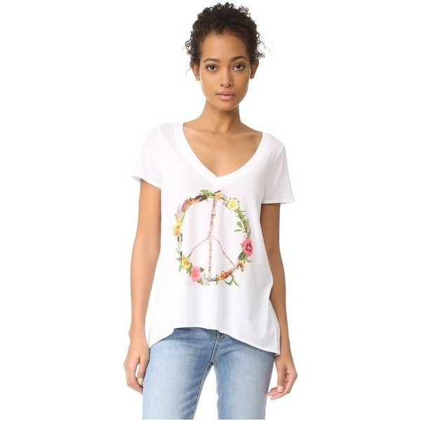 Chaser Peace Wreath Tee ($63) ❤ liked on Polyvore featuring tops, t-shirts, white, graphic t shirts, white v neck tee, white v neck t shirt, v neck t shirts and v-neck tee