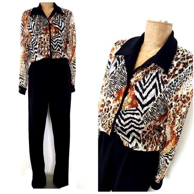 Vintage 80s Festival Jumpsuit Size Medium Animal Print Pantsuit Cocktail Party #FrankieD #Sheath