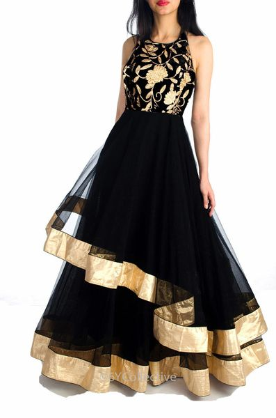 Black Layered Gown with Embroidery