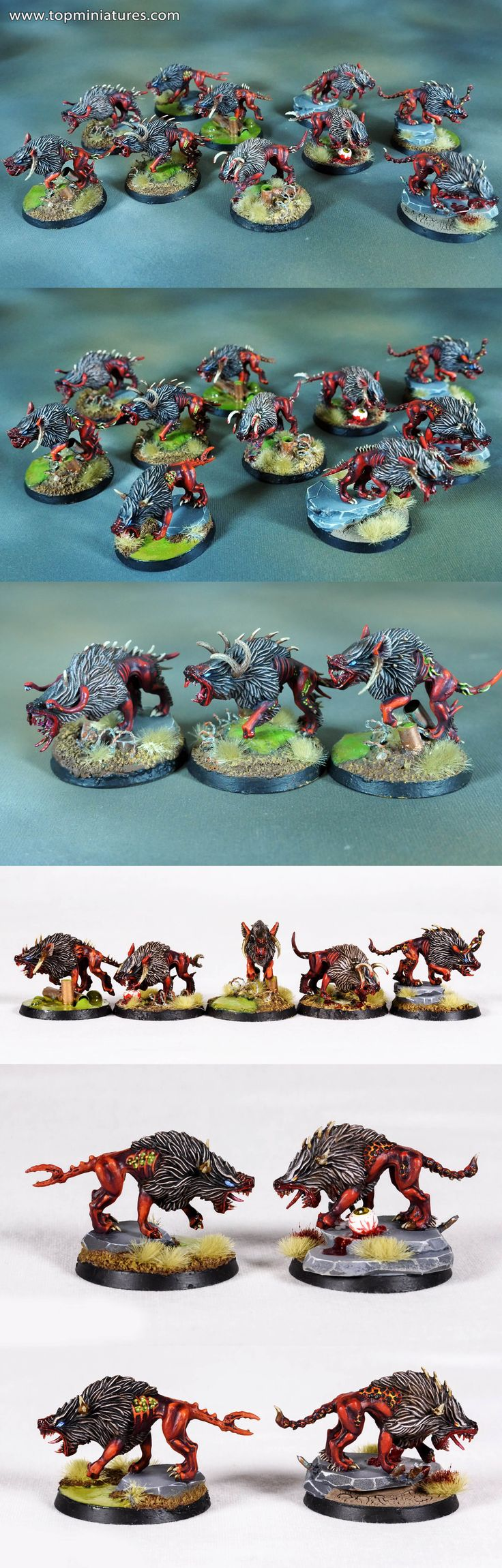 Warhammer fantasy & age of sigmar chaos warhounds / flesh hounds of khorne