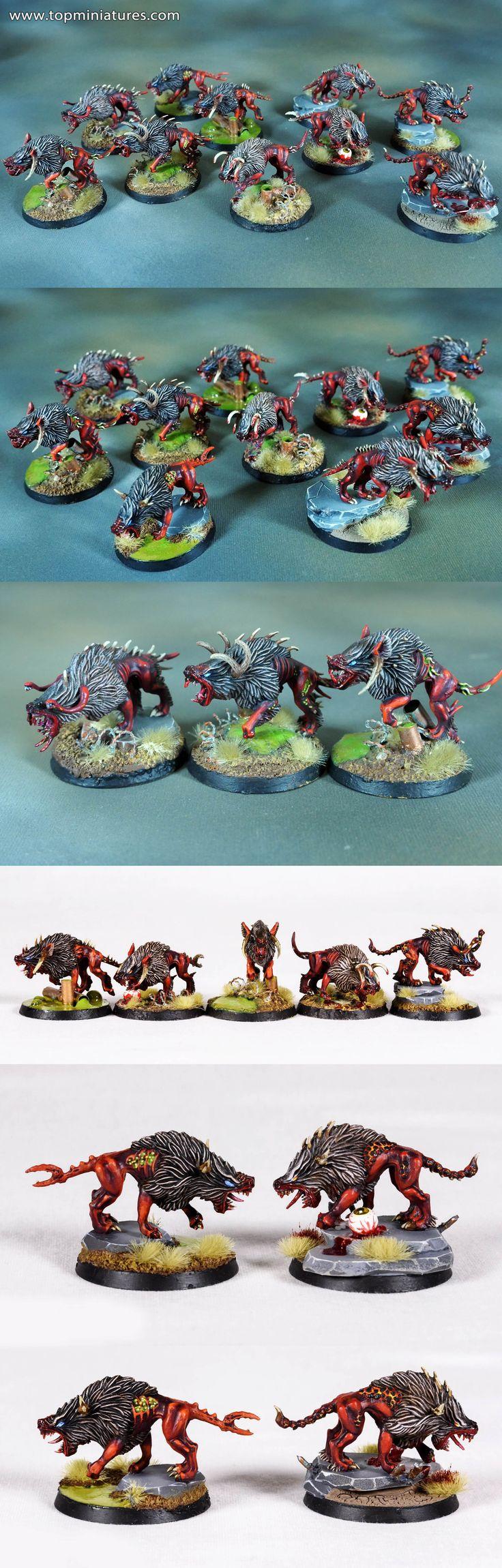 Warhammer fantasy & age of sigmar chaos warhounds / flesh hounds of khorne