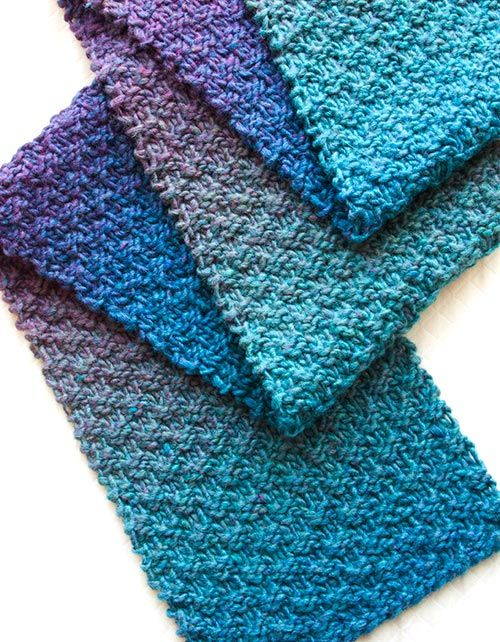Three Color Scarf Knitting Pattern : 25+ best Knit scarf patterns ideas on Pinterest Simple knitting patterns, S...