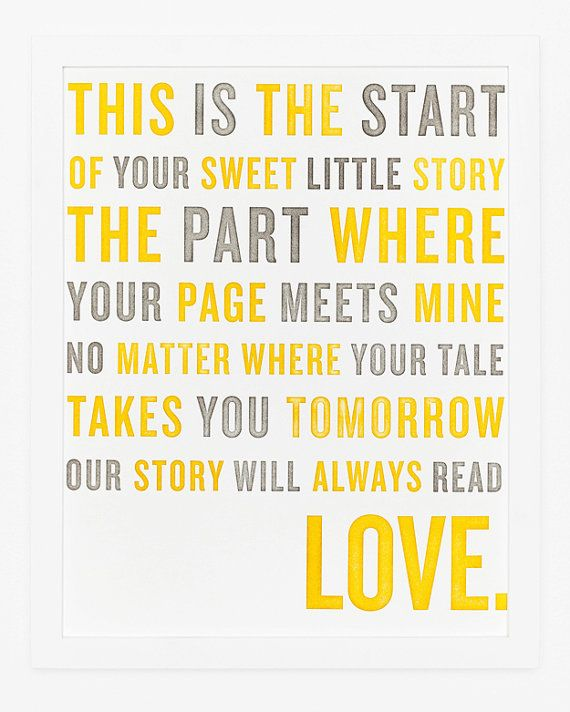"""Nursery Decor - """"No matter where your tale takes you tomorrow our story will always read love"""" <3"""
