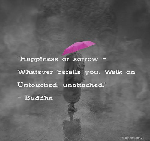 Happiness or sorrow - whatever befalls you, walk on untouched, unattached. - Buddha // CC-BY-ND (http://www.flickr.com/photos/16230215@N08/8116798003)