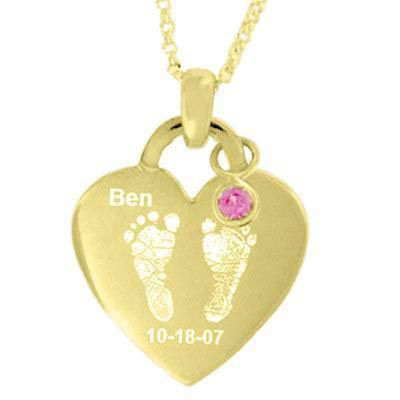 Simulated Birthstone Baby Footprints Heart Pendant in Sterling Silver with 24K Gold Plate (1 Name, Date and Stone)