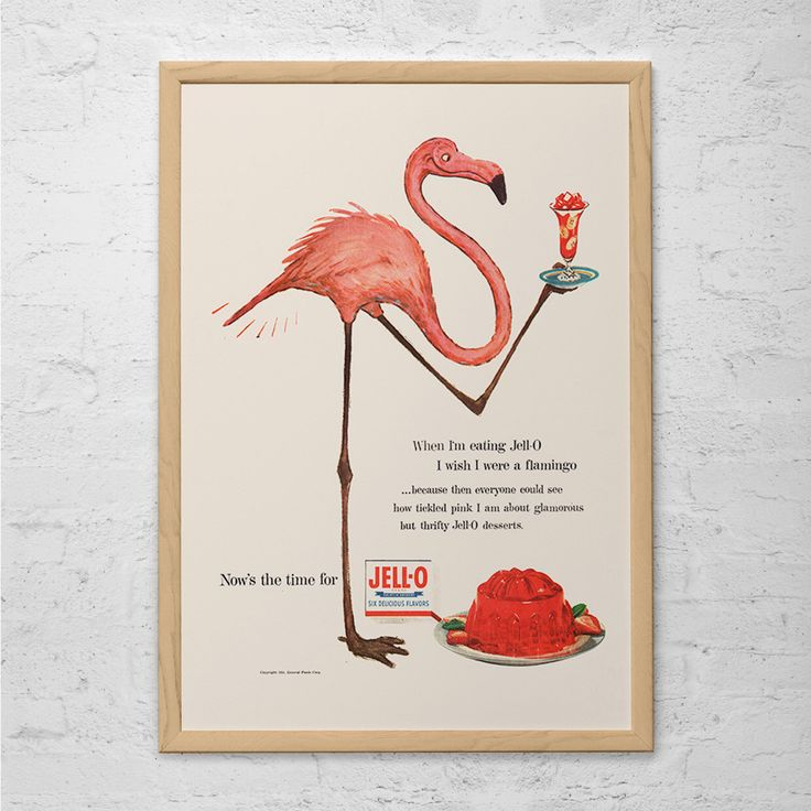 VINTAGE JELLO AD - Pink Flamingo Poster Vintage Kitchen Art Mid Century Poster Kitsch 1950's Art Print Retro Pink Flamingo Wall Art by EncorePrintSociety on Etsy https://www.etsy.com/au/listing/234935305/vintage-jello-ad-pink-flamingo-poster