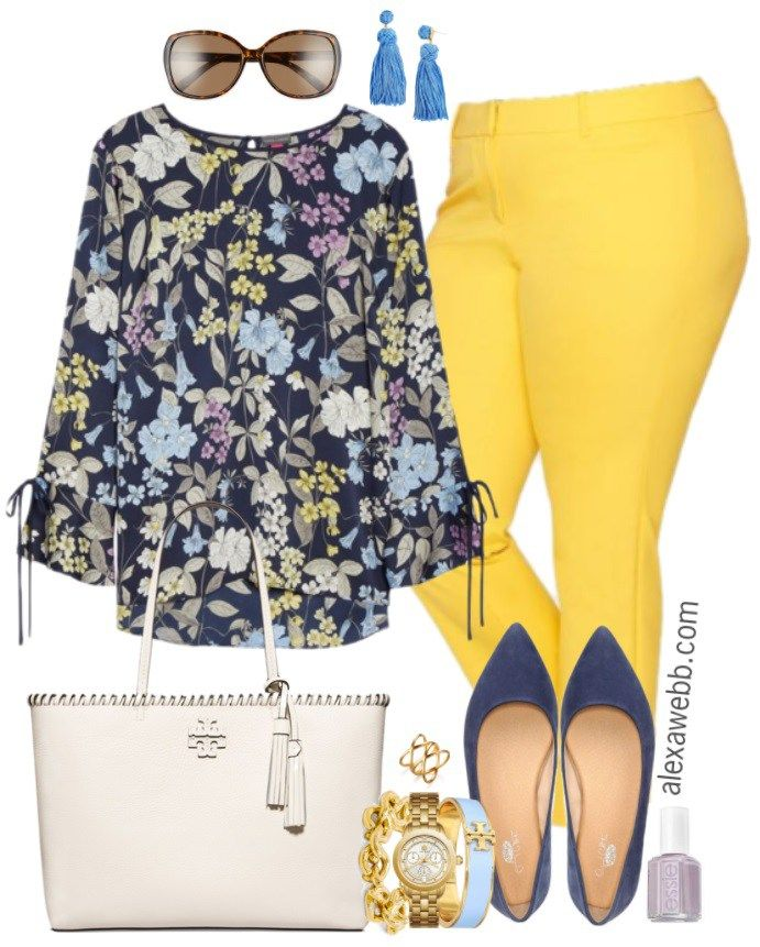 Plus Size Yellow Pants Work Outfits - Plus Size Work Wear - Plus Size Fashion for Women - alexawebb.com #alexawebb