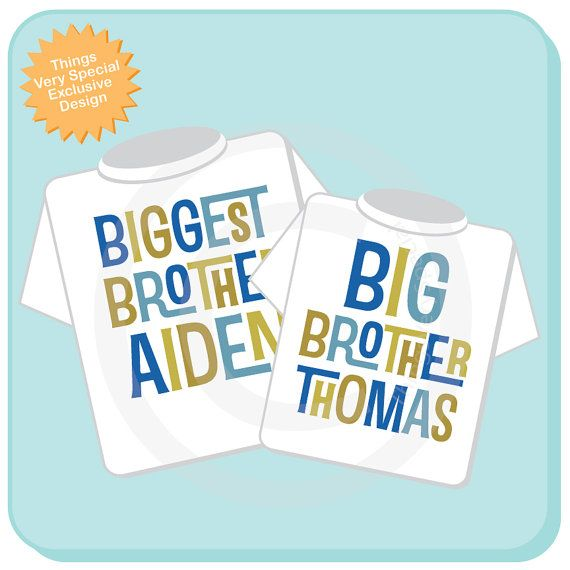 Biggest Brother and Big Brother Shirt set of 2, Sibling Shirt, Personalized Tshirt with Blue and Green Letters (12302013f)