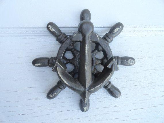 Cast iron door knocker nautical decor helm ship wheel anchor door knocker antique white - Turtle door knocker ...