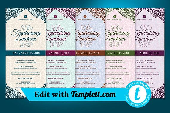 Fundraising Luncheon Flyer Templett - Editable in any web browser on templett.com - 5 Color Options