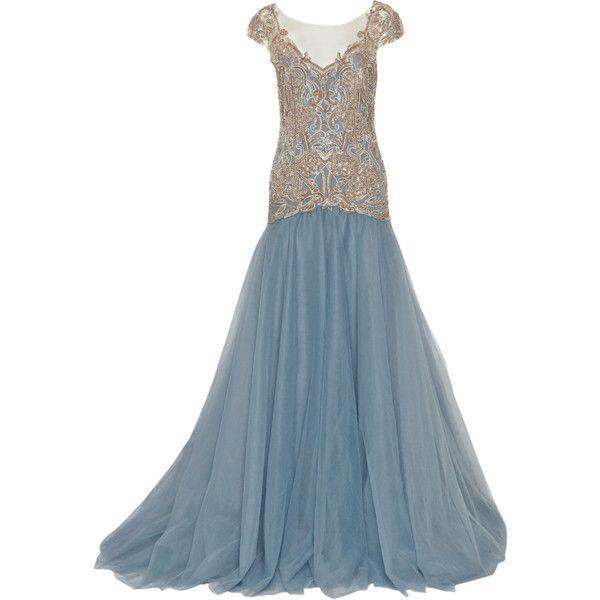 pleated lace evening dress - Blue Marchesa Buy Cheap Extremely 8CYvZyTkmC
