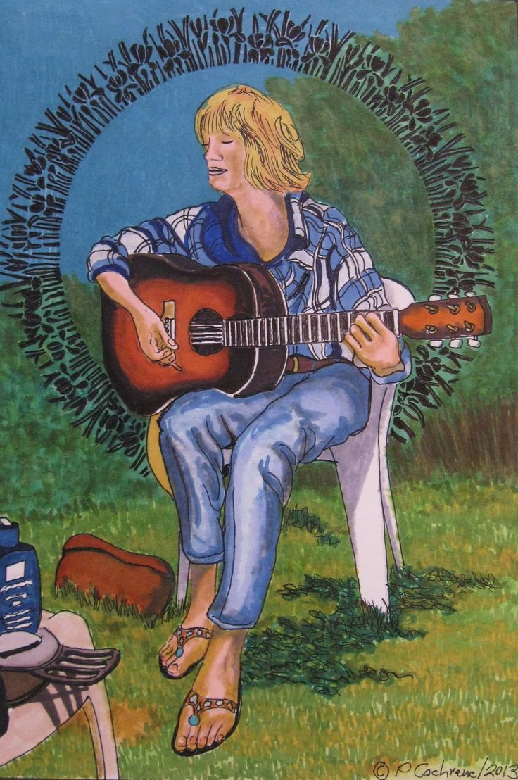 (131)   Mamie and Her Guitar  (Whynacht Point, NS)   A 7 7/8 x 11 1/2 drawing on an 11 x 14 sheet of acid free bristol.