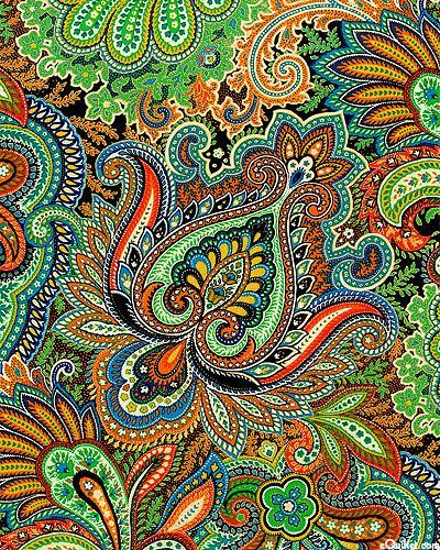 eQuilter Taj Mahal - A Princely Paisley - Willow Green/Gold