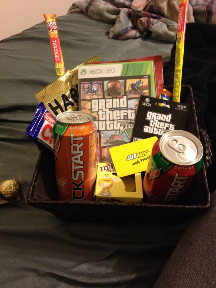 Gift I have John for his birthday. Gamer kit--beef jerky, energy drinks, GTA 5, subway gift card, and assorted candy bars!! 10/21/13