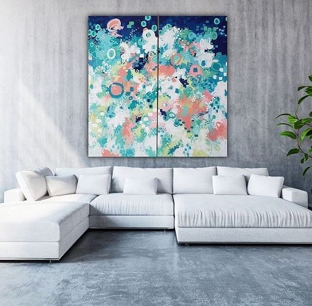 These Fabulous Paintings Are Created By Sueallemandart And Displayed With Insituartroom Insituartroom Large Canvas Wall Art Blue Wall Art Modern Wall Art