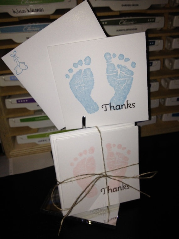 8 count 3x3 Baby Thank You Cards with by TheVirtuousStamper, $8.00
