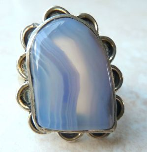 Sterling Silver And Blue Lace Agate Statement Ring.