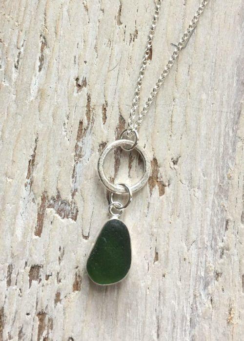 3f88eecb8 Beachcomber Jewellery. Green Sea Glass with sand circle pendant ...