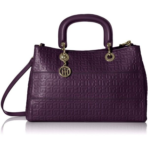 Tommy Hilfiger Sally Convertible Shopper Shoulder Bag (£63) ❤ liked on Polyvore featuring bags, handbags, shoulder bags, convertible purse, shoulder handbags, shopper purses, shoulder shopping bag and purple handbags