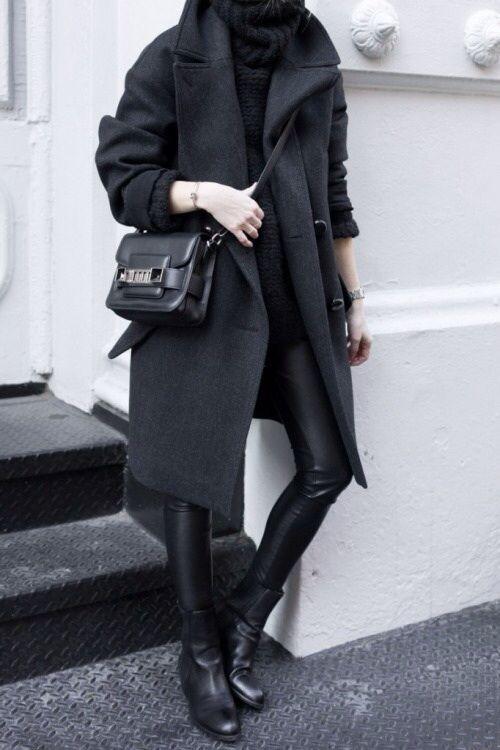 Black On Black // Oversize Collar // Alexander Wang Boots // Proenza Schouler Bag