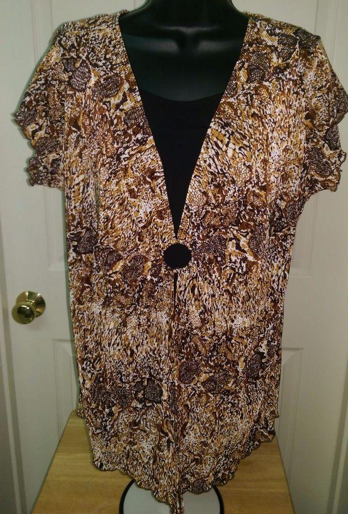 Woman's Lt/Dk Brown/White/Black Design Layer Look Shirt Size L/XL (PLEASE READ) #Unknown #Blouse #Casual