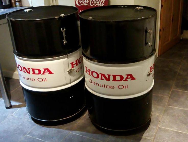 Honda oil Drum Cabinets by Ginger Garage Products #gingergarageproducts #ggp #honda #hondaracing #oildrumfurniture