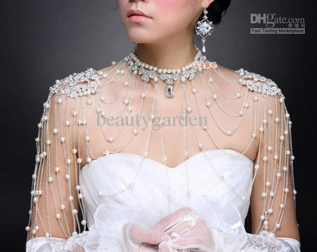 crystal shoulder epaulettes | Decorative choker with crystal epaulets and tiered pearl shoulder ...