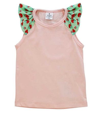 Curious Wonderland Kawaii Strawberry Flutter Singlet