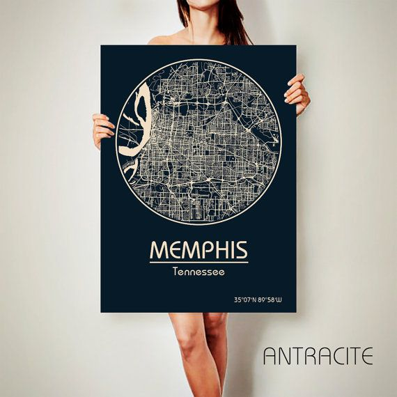 MEMPHIS Tennessee City Map Memphis Tennessee Art by ArchTravel