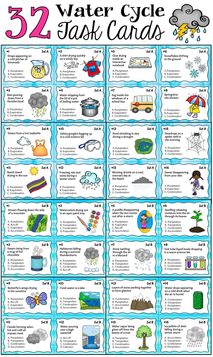 Parts of the Water Cycle Task Cards includes a total of 32 unique task cards in PDF format with examples of water cycle concepts in everyday life. Includes a teachers' guide and task card images to use with Plickers. $ #LauraCandler