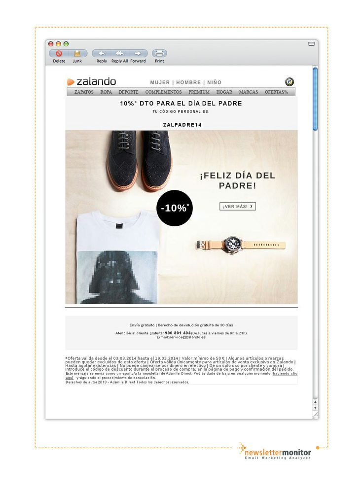 Brand: Zalando | Subject: 10% dto para el dia del padre. Zalando envio gratuito