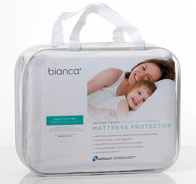 Deluxe Waterproof BIANCA  Features: 100% cotton velour Fully fitted with 50cm deep polyester and cotton wall to fit most mattresses Breathable waterproof laminated polyurethane backing Fully machine washable May be tumble dried up to 90 degrees Celsius - #protectors