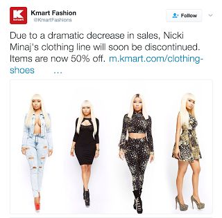Nicki Minaj's rough patch continues - loses KMart deal Rap and hip hop singer Nicki Minaj has had a rough week. She is currently dealing with a red hot war with rapper Remy Ma. Remy Ma rocked Nicki's world with the release of diss track shETHER. This recent development hits Nicki's pocket book. According to Kmart they are thrilled that we were the first retail partner to create a custom apparel line for Nicki Minaj a rep for Kmart tells Billboard. From the development of the line to…