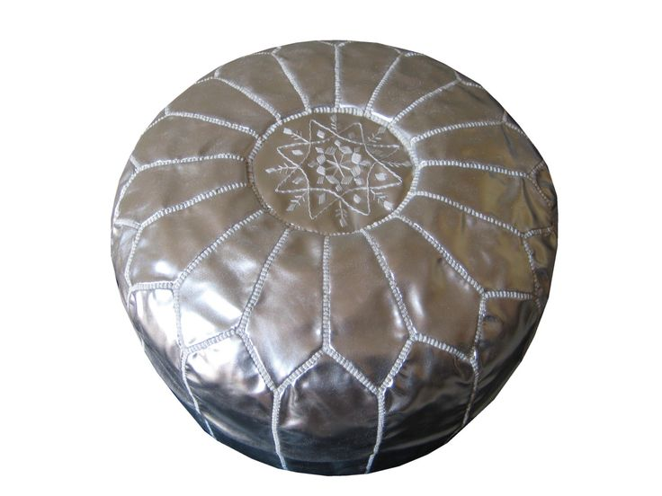 Moroccan Leather Pouf 100% Handmade silver luxury ottoman footstool chair. $90.00, via Etsy.