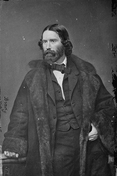 """James Russell Lowell photographed by Mathew Brady circa 1855-1865. Lowell was a Massachusetts abolitionist and poet who served as the first editor of the Atlantic Monthly magazine. In October of 1860, Lowell wrote a long article, titled """"The Election in November,"""" in which he endorsed Lincoln for president. Click through to read his article."""