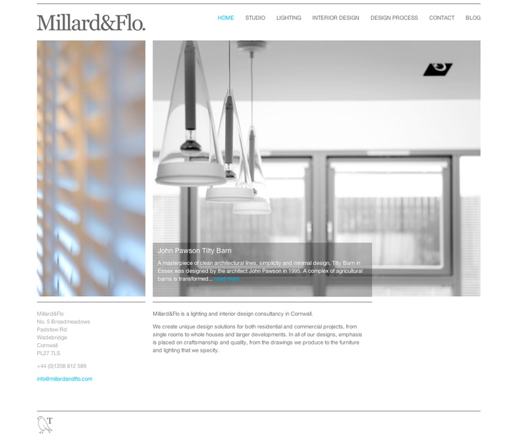 One of our latest websites for interior and lighting designers Millard&Flo!