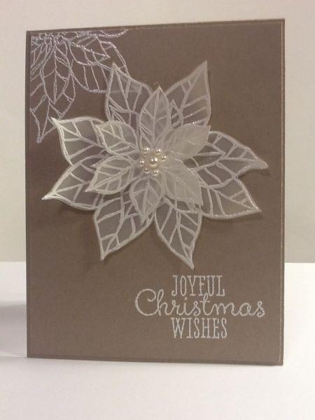 Christmas card -  Patti Bossi, Joyful Christmas stamp set on vellum and heat embossed on crumb cake