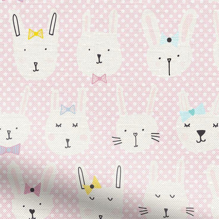 Bunnies Polka Pink Roman Blind