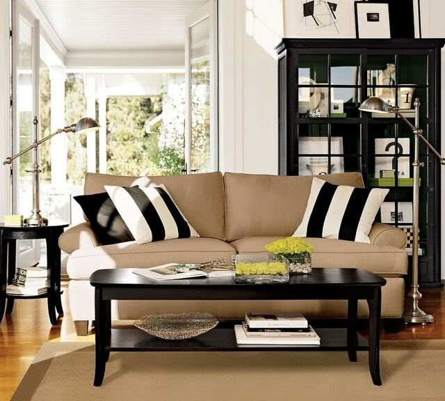 Black White Tan Wood And Steel Family RoomsLiving SpacesLiving Room IdeasLamps