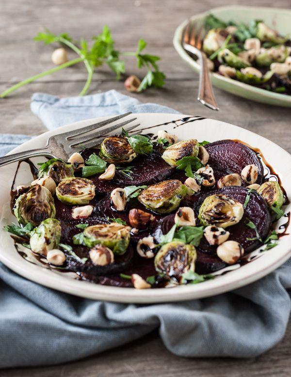 Roasted Beet, Brussels Sprout & Hazelnut Salad