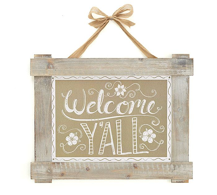 "Greet your wedding guests with our rustic ""Welcome Y'all"" wall hanging! #burtonandburton"