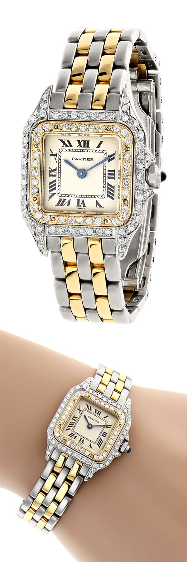 This fabulous Ladies Cartier Panthere Mini 18K Gold & Steel Two-Tone Vintage Diamond Watch showcases two tone solid 18K gold and stainless steel case set with 0.75 carats genuine round diamonds. This iconic ladies diamond watch is battery operated with a Swiss quartz movement. Featuring a stainless steel and 18K solid yellow gold with custom set diamonds bezel, 18K gold and stainless steel band with a hidden folding deployment clasp and an off white dial.
