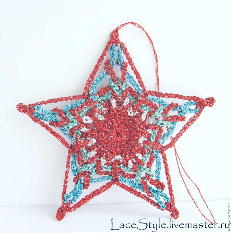 Купить Звезды вязаные. Новогодний декор. - комбинированный, звезда, звезда на елку, звезда вязаная
