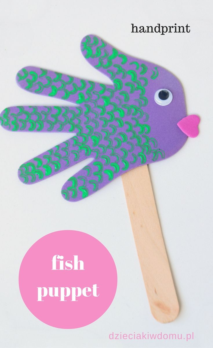 handprint fish puppets - craft for kids