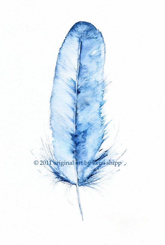 My latest feather painting, 'Kingfisher'.   #watercolor #painting #etsy