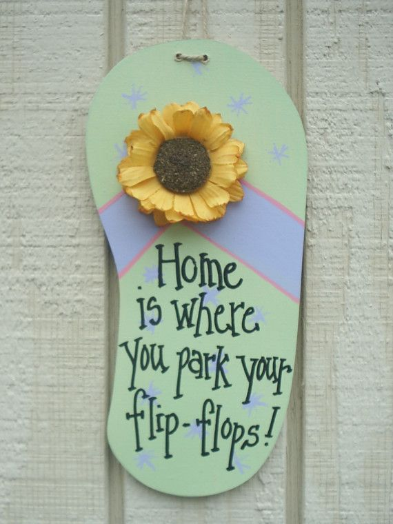 FLIP FLOP Beach Sign WOOD Plaque ... HOME IS by AVintageExpression