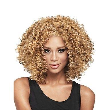 nieuwe mode voor vrouwen glueless diepe blonde mix krullend kort haar pruik voor Afro-Amerikaanse – EUR € 19.36